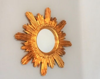 Handcarved gilt wood Sunburst  Mirror from the 1960s Germany - Gold - Gift men woman mid century vintage livingroom office hall