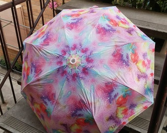 Folding umbrella 'Bird eye view' - Abstract watercolor design