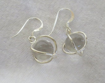 Clear Quartz sphere sterling silver earrings CCS20