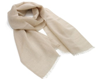 Beige Cashmere Scarf with Brown Border 100% Cashmere Scarf Super Light Cashmere Scarf