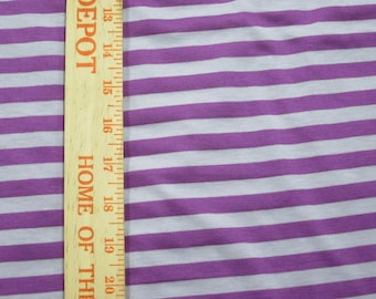 """Apx. 3/8"""" Tone on Tone Violet Purple and LIghter Purple Stripe Knit FAbric"""