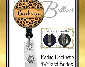 Custom Badge Reel, Personalized Leopard Print Badge Reel, Custom Name Badge, Retractable Badge Reel, BRN012