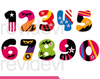 Superhero clipart sale / Numbers clip art - Girly Numbers clipart - 0,1,2,3,4,5,6,7,8,9 - instant download - commercial use