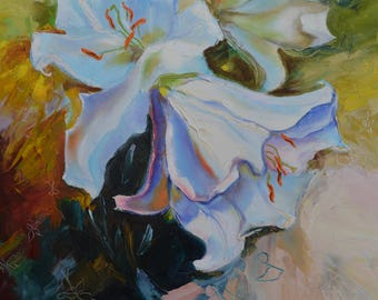 White Lilies Gift of Mother Spring Music Spring Bells Flower Painting on a Canvas on a Stretcher Author Painting Wonderful Flowers