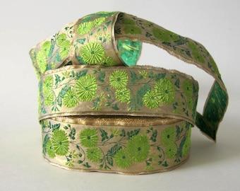 KIMONO KIKU Flowers 3 yards Jacquard trim apple green, emerald green on gold. 1 5/8 inch wide.  2024-A Metalic trim, gold