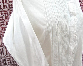 French Antique Edwardian - Ladies Linen White Cotton Shirt / Blouse with Lace front & Collar