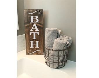 """Bath Sign - bathroom sign - bathe - bathroom wall decor -farmhouse sign - rustic -stained wood sign - 5 1/2"""" x 14"""""""