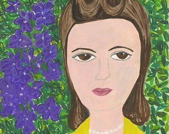 Edith, spring of 1947. Original mixed media painting by Vivienne Strauss.