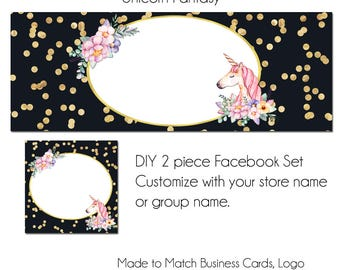 Unicorn Fantasy Timeline Set - Unicorn & Floral Facebook Set - Customize for your Facebook Business or Personal Page