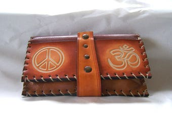 Tobacco caramel brown and Brown, peace love and om, original, functional and sturdy, for men or women