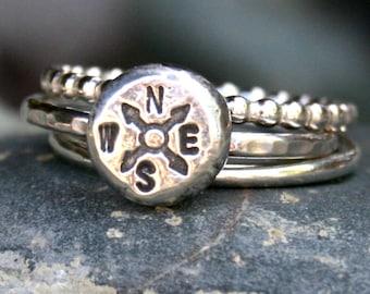Compass Stacking Ring Set - Sterling Silver Wanderlust Ring Set