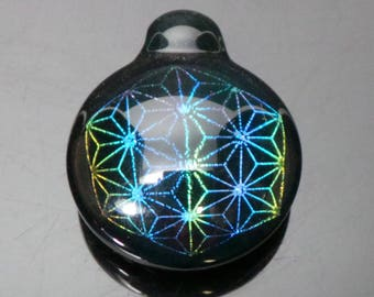 Rainbow Sacred Geometry Dichroic Boroimage Pendant Onyx Black Glass - Lampworked pendant - 29mm