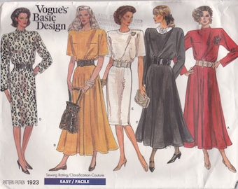 80s Loose Fitting Dress Pattern Vogue 1923 Sizes 14 16 18 Uncut