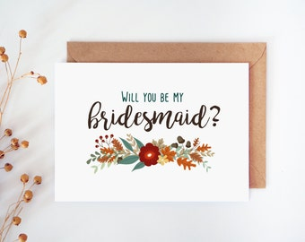 Printable will you be my bridesmaid card, Bridesmaid card, Autumn Wedding, Fall Wedding set