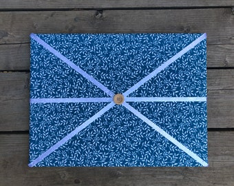 Teal Floral Fabric Board w/ White Ribbon (SC)