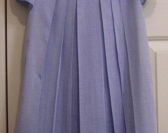Girl's sz 5-Blue Mini Check Cotton DRESS-MADIERA APPLIQUED Collar-Children's Corner style