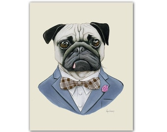 Pug Dog art print by Ryan Berkley 5x7