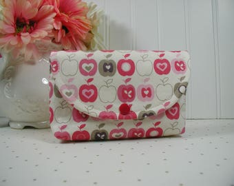 Apple Snap Pouch, Large Snap Pouch, Cosmetic Pouch, Accessory Pouch... Flo's Garden Apples in Cream