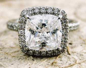 Custom Made Micro Pave Diamond Engagement Ring in Platinum with Your Choice of Center Stone Size 5