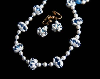 Vintage White & Blue Star Flower Beaded Necklace Earrings set ~ Faux Pearl Flower Necklace ~ Dangle Earrings
