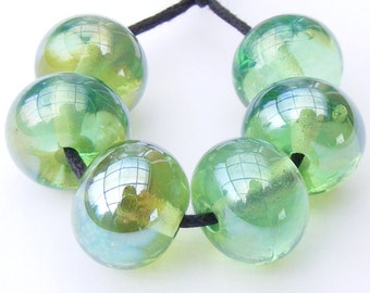 Handmade lampwork bead set of streaky green beads - metallic reflective emerald glass beads