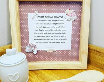 Gift for Mum - Gift ideas for Mum - Poetry Gift - Mothers day gift ideas - 'Mum's Apron Strings' framed - Product code 17DOMAINStrings