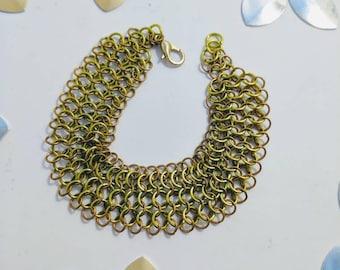 Wide European 4 in 1 bracelet, chainmaille bracelet, copper and brass, handmade jewelry, statement bracelet