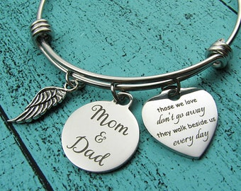 memorial gift Mom and Dad, sympathy gift, remembrance bracelet Father Mother, loss of parents memorial jewelry, those we love don't go away