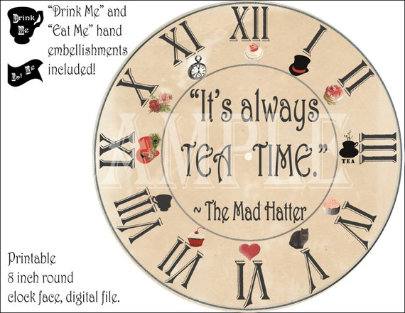 Mad Hatter Clock Printable Kit Steampunk Aged Tea Party