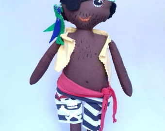 Parrot Pirate Doll, with eye patch. Handmade, Black Pirate Ragdoll. 40cm