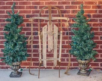 Wooden Runner Sled Vintage Winter Decor