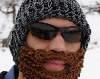 bearded lumberjack hat black and gray, The Original Beard Beanie, crochet beard hat, crochet beard beanie, crochet mustache hat, knit beard