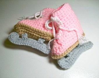 Pink Figure Skate Booties  Crochet Baby Girl Booties Photo Prop
