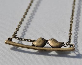 Birds on branch bronze necklace