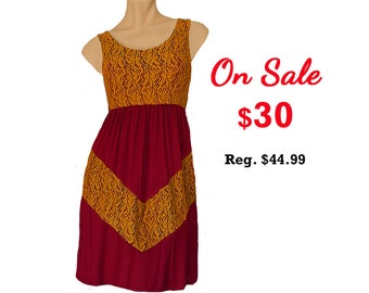 Deep Red + Gold Lace Chevron Dress