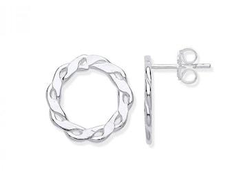 925 Sterling Silver 15mm Infinity Link Circle Stud Earrings