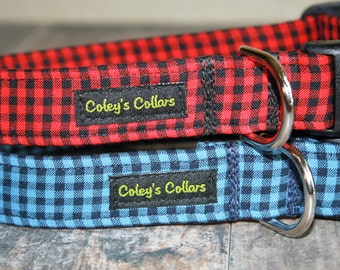 "Mini Buffalo Plaid Dog Collar, Gingham Plaid Dog Collar, Boy Dog Collar, Male Dog Collar, Girl Dog Collar,  ""The Bennett Collection"""