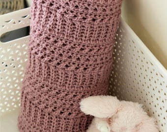 Download Now - CROCHET PATTERN Rose-Colored Blanket - Make to Any Size - Pattern PDF
