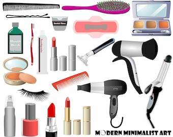21 PNGS, Beauty Clipart, Hygiene Clipart, Makeup Clipart, Eye shadow Clipart, Lipstick, Blush, Hairdryer, Instant Download, Bathroom Clipart