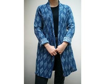 Contemporary Indigo dyed long jacket