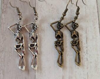 Skeleton earrings, day of the dead, goth earrings, Halloween earrings, skeleton jewelry, skull earrings, anatomy earrings, charm earrings
