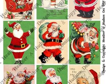 Vintage Retro Christmas Santa Claus un altered  4 Sheets 9 images ATC  Large Focals Tiny DIY Printable Digital Collage Sheet Victorian