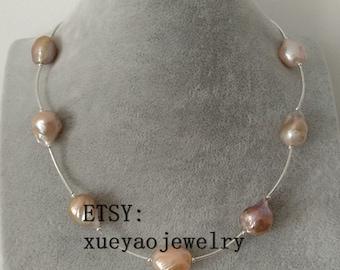 Edison pearl necklace, baroque pearl necklace,14-15 mm rainbow multi-color pearl necklace