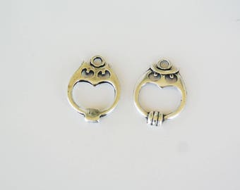 2 OWL charms 21x16mm