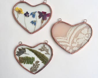 SALE Stained Glass Suncatcher Hearts Nature and Lace