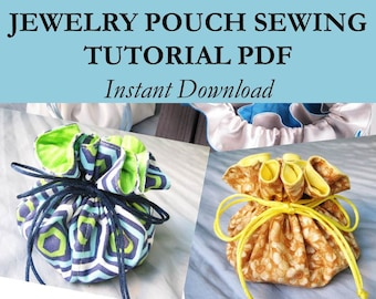 Travel Jewelry Bag Sewing Pattern PDF, Jewelry Travel Bag Tutorial, Drawstring Bag Digital Pattern, Drawstring Pouch PDF Sewing Pattern