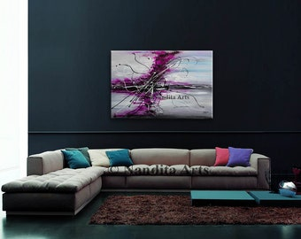 """Purple wall art, Purple, 36"""" Lavender Abstract art decorative art, Minimalist abstract painting, Modern home decor wedding Gifts for her"""