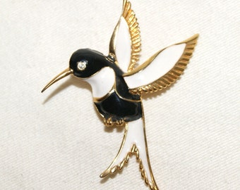 "Vintage Black White Enamel Gold Tone Hummingbird Brooch Pin- 2 3/4"" H x 2 1/8"" W"