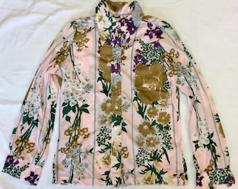 Vintage women's long sleeve polyester shirt colorful floral print 60s / 70s