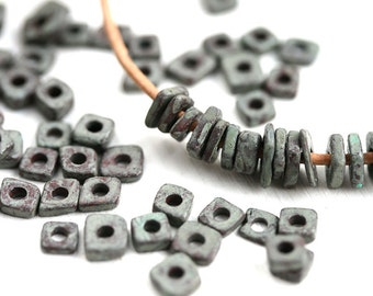 Ceramic chip beads, Greek ceramic spacers, Grey Patina on Brown, tiny washer beads, 5mm - approx.70pc - 0027